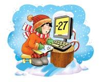 Controllando la figura umore del fumetto di inverno Fotografie Stock
