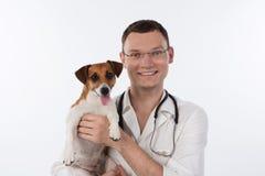 Controllare con il cane Fotografia Stock Libera da Diritti