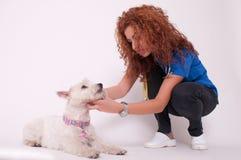 Controllare femminile con il cane Fotografia Stock
