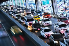 Controlled-access highway in Bangkok during rush hour Royalty Free Stock Photography