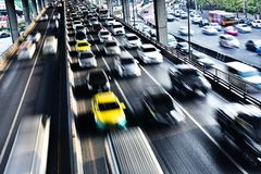 Controlled-access highway in Bangkok during rush hour Royalty Free Stock Images