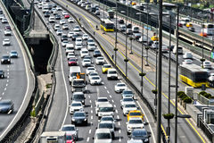 Controlled-access highway in Istanbul during rush hour.  Royalty Free Stock Photography