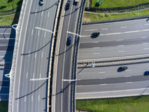 Controlled-access highways crossing at different level. Top view. Controlled-access highways crossing at different levels. Top view stock photo