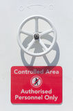 Controlled Area Sign on a ship Stock Images