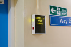 Controlled Area X-Rays electronic warning sign Royalty Free Stock Images