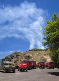Controlled burn in Las Cumbres. LAS CUMBRES  DE GRAN CANARIA, SPAIN - May 21: Military emergency unit and ambulances provides support at a controlled burn royalty free stock photo