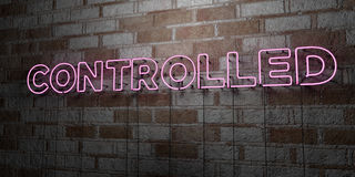 CONTROLLED - Glowing Neon Sign on stonework wall - 3D rendered royalty free stock illustration Royalty Free Stock Image