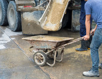 Controlled Low Strength Material CLSM pouring down from mixer with worker. Controlled Low Strength Material CLSM pouring down from mixer truck to a trolley and Stock Images