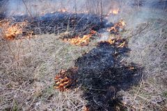 Controlled or prescribed burn of dry brush stock images