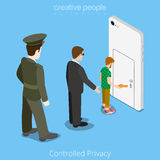 Controlled privacy device access concept. Flat 3d Stock Photography