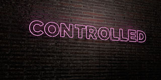 CONTROLLED -Realistic Neon Sign on Brick Wall background - 3D rendered royalty free stock image Stock Photos