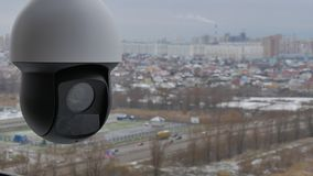 Controlled speed dome PTZ camera in outdoors. Timelapse. stock video