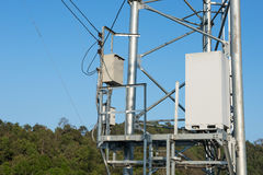 Controller box and Transmitter mast Stock Photo