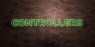 CONTROLLERS - fluorescent Neon tube Sign on brickwork - Front view - 3D rendered royalty free stock picture Stock Image