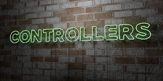 CONTROLLERS - Glowing Neon Sign on stonework wall - 3D rendered royalty free stock illustration Royalty Free Stock Photos