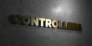 Controllers - Gold text on black background - 3D rendered royalty free stock picture Royalty Free Stock Image