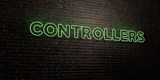 CONTROLLERS -Realistic Neon Sign on Brick Wall background - 3D rendered royalty free stock image Royalty Free Stock Images