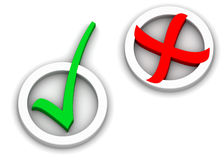 Controlli ed attraversi i contrassegni Fotografia Stock