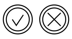 Controlli ed attraversi Mark Thin Line Vector Icon Fotografie Stock Libere da Diritti