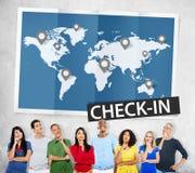 Controlli il concetto globale di giro del mondo di posizioni di viaggio fotografie stock