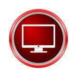 Controlli l'icona della TV, bottone di Internet su fondo bianco Fotografia Stock