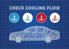Controlli l'illustrazione di vettore degli indicatori del liquido di raffreddamento Immagini Stock