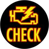 Controlli l'indicatore luminoso del motore nel cerchio Fotografia Stock