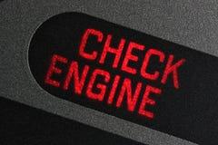 Controlli la luce d'avvertimento del motore fotografia stock