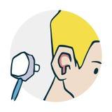 Controlli lo stetoscopio delle orecchie Immagine Stock