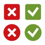 Controlli Mark Stickers ed i bottoni. Red Green. Vettore. Fotografia Stock Libera da Diritti