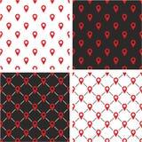 Controlli o posizione o insieme di colore di Pin Icon Seamless Pattern Red Fotografia Stock Libera da Diritti