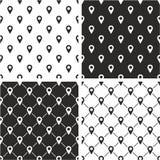 Controlli o posizione o Pin Icon Seamless Pattern Set Fotografie Stock Libere da Diritti