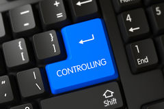 Controlling CloseUp of Blue Keyboard Button. 3D. Stock Photography