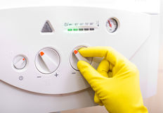 Controlling temperature in gas boiler Stock Photography