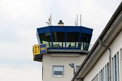 Controlling tower at the airport Essen-Mülheim Stock Photos