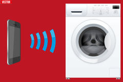 Controlling washing machine with smartphone. Illustration of Wireless Controlling washing machine with smartphone. IOT Concept and remote home appliance Stock Images