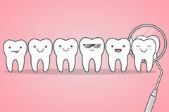 Controllo dei denti al dentista Immagini Stock
