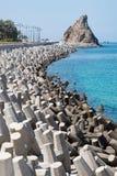 Controllo dell'erosione con i blocchi in calcestruzzo Fotografia Stock Libera da Diritti