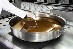 Controllo dell'olio nel tessuto dell'alimento Immagine Stock