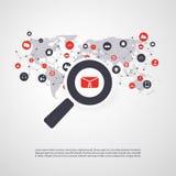 Controllo della sicurezza, esame del virus, pulizia, eliminante malware, Ransomware, frode, Spam, Phishing, email Scam, effetto d Fotografie Stock
