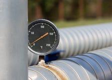 Controllo della temperatura sul tubo fotografie stock libere da diritti