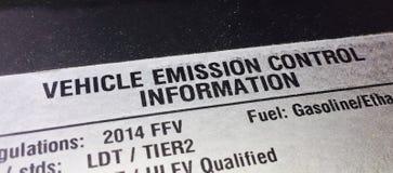 Controllo delle emissioni del veicolo fotografia stock