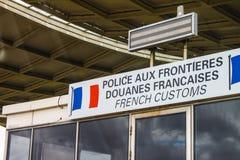 Controllo di frontiera francese della dogana Fotografie Stock Libere da Diritti