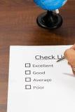 Controllo di qualità della lista di controllo. Fotografia Stock
