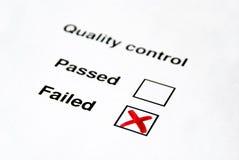 Controllo di qualità - venuto a mancare immagine stock libera da diritti