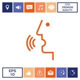 Controllo di voce, persona che parla - icona Fotografie Stock