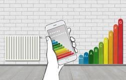 controllo domestico astuto di concetto dell'illustrazione 3D Riscaldamento della regolazione di temperatura tramite Smart Phone c Fotografia Stock