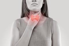 Controllo ghiandola tiroide delle donne Fotografie Stock Libere da Diritti