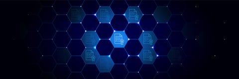 Controllo, icona di regole dal progetto di dati di generale fissato nel tecnologico illustrazione di stock