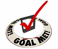 Controllo incontrato scopo Mark Box Successful Results Achieved Immagine Stock